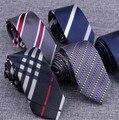6 cm estrechos lazos de negocios vestido de la manera de Los Hombres a rayas rayas Diagonales Lazos de novia de estilo Británico delgado caballero corbata delgada