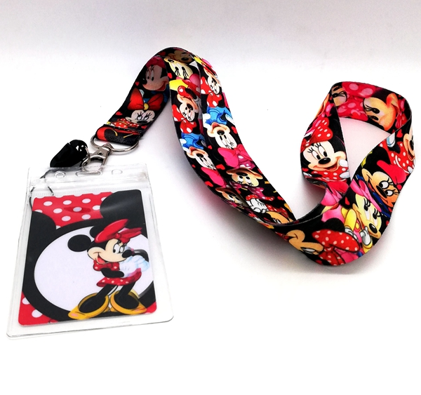 1 Pcs  Minnie  Neck Strap Lanyards Card Holders Bank Neck Strap Card Bus ID Holders  Rope Key Chain Gift K20