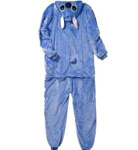 Image 4 - HKSNG zwierząt dorosłych Stitch piżamy wysokiej jakości flanelowe Cartoon śliczne Onesies Cosplay kostiumy kombinezony piżamy Kigurumi