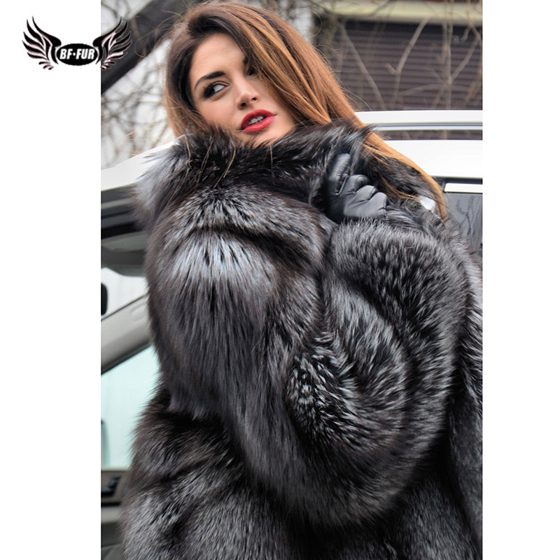 BFFUR Real Fox Fur Coat Thick Warm 2019 New Park With Natural Fur Luxury Jacket Whole Skin Popular Top Grade Full Casual Warm