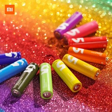 10PCS Original XIAOMI ZMI ZI5 AA lkaline Battery Rainbow Disposable Batteries Kit for Camera Mouse Keyboard Controller Toys Cell