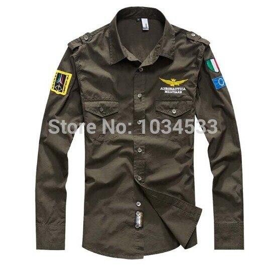 4 couleurs Europe et amérique Style hommes armée militaire chemise Dree chemises 100% coton à manches longues chemise de haute qualité