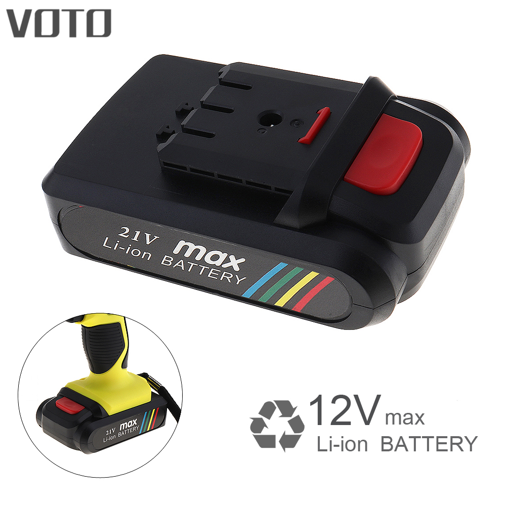 VOTO Universal 21V Max Li-ion Lithium Rechargeable Battery with Flat Push Type for Electric Drill / Electric Screwdriver 4 2v 6a 1s lithium battery protection pcb bms board for 18650 18550 li ion lipo battery cell