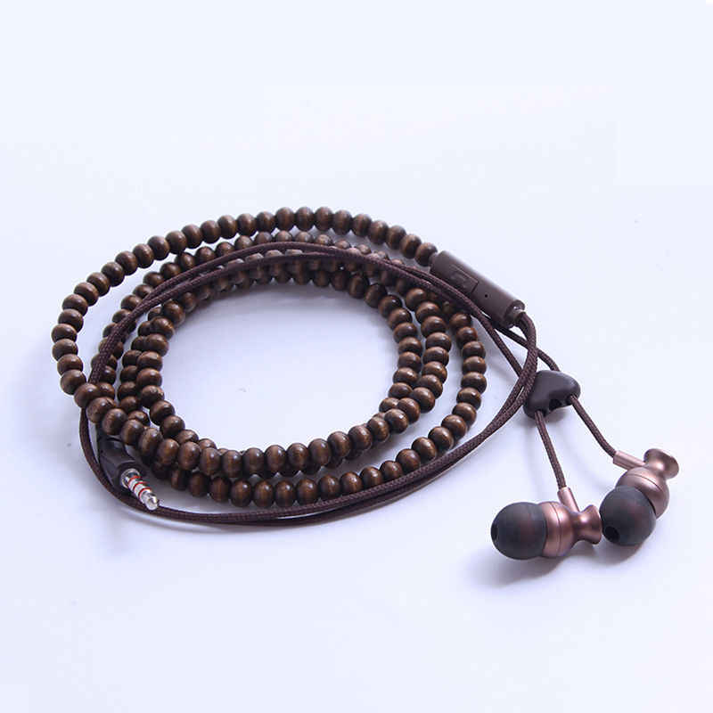 CHICLITS Wooden Beads Bracelet Earphone Fashion 3 5mm Wired Sport In-ear  Universal Earbus For Smartphone MP3 Couple Gift New Hot