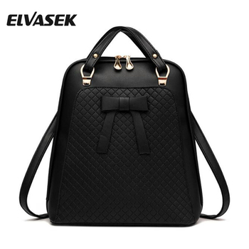 ELVASEK Fashion Women Backpacks Waterproof Pu Leather Backpacks Women Travel Bag Casual Backpacks Feminina Top-Handle DH0326
