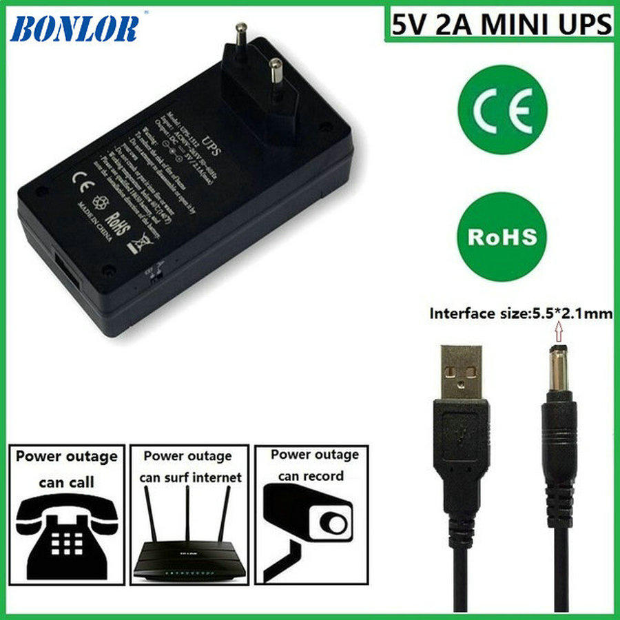 5V2A AC to DC Mini Adapter Uninterruptible Power Supply UPS Provide Emergency Power Backup to CCTV Camera with Battery Built-in