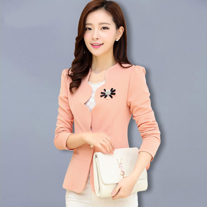 Fashionable Ladies Blazer Feminino 2018 Plus Size Blaser Women Suit Blazers And Jackets White/Pink/BlackYellow jaqueta feminina