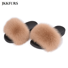 2019 New Fur Slides Womens Real Fox Slippers Shoes Flip Flops Flat Fluffy Sliders Retail Wholesale S6018F