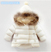 Winter Baby Girl Coat Thick Warm Cotton Real Fur Newborn Baby Boys Girls Jacket Infant Toddler