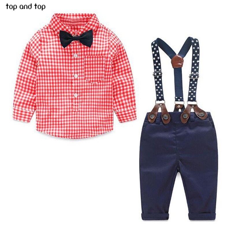 2017 mode kinder kleidung grid t-shirt + hosenträger neugeborenen langarm baby-kleidung Bowknot gentleman anzug kostenloser versand