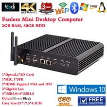 MINI PC Fanless Dual Интер i7 Core 4 нити Linux Ubuntu PC для ИК Интерактивные Доски Промышленных Office 80 ГБ HDD 2 ГБ ОПЕРАТИВНОЙ ПАМЯТИ