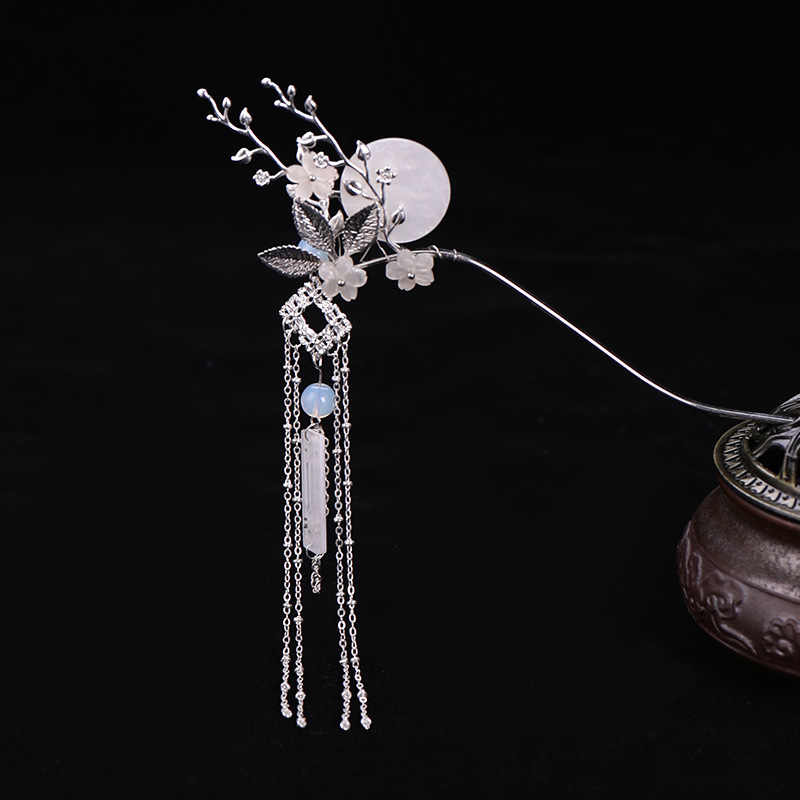 FORSEVEN New Women Girl Photography Chinese Dress Hair Decoration Fairy Floral Moon Long Tassels Hairpin Hair Claw Hair Sticks