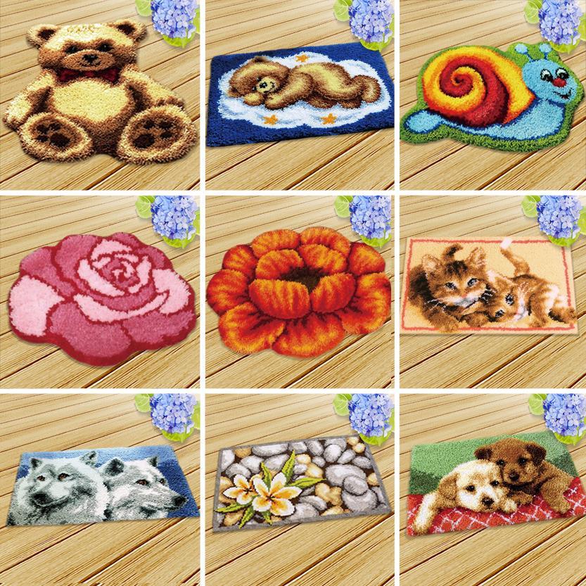 Christmas Cushions Home Pillow Flower Yarn Carpet Embroidery Carpet Cushion Pillowcase Stitch Mat Pillow Home Carpet Mat Carpet
