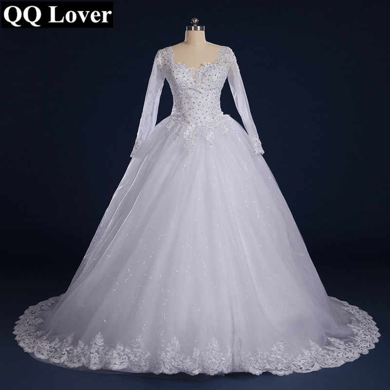 QQ Lover 2019 Hot Sale Sexy Long Sleeves A Line Lace Vestido De Noiva Luxurious Romantic V Neck Sequins Appliques Wedding Dress
