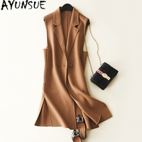AYUNSUE 2018 Fashion Double side Cashmere Women's Vest Long Solid Wool Coat Female Waistcoat for Women colete feminino WYQ1234