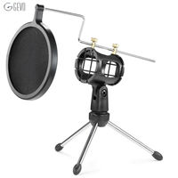 Microphone Tripod Stand Foldable Microphone Desktop Stand Holder Bracket With Shock Mount Mic Holder Clip And