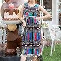 Verfalin Plus Size S-4XL 2016 Verão 12 Tipos de Vestidos Florais Mulheres Borla Longo Boho Vestidos de Praia Dos Desenhos Animados Imprimir Chiffon Vestidos