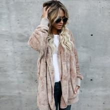 Плюс размеры 5XL Элегантный Искусственный мех пальто для женщин 2018 Осень Зима Теплые мягкие на молнии Меховая куртка Женская Плюшевые повседневное