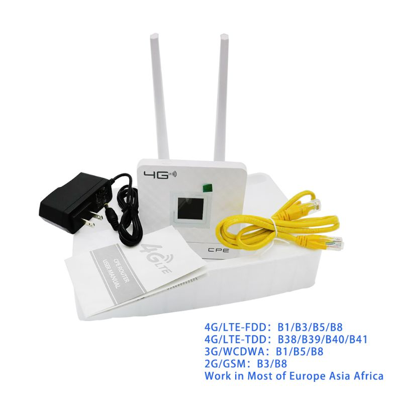 Wireless CPE 4G Wifi Router Portable Gateway FDD TDD LTE WCDMA GSM Global Unlock External Antennas SIM Card Slot WAN LAN Port