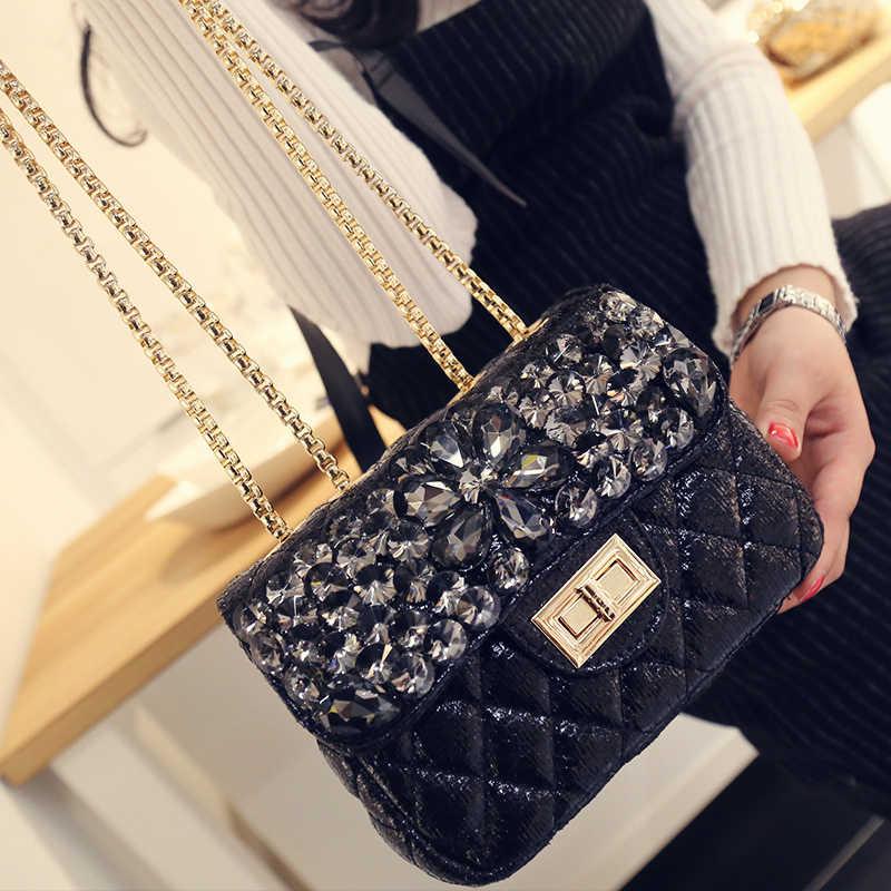 2019 novos sacos de grife famosa marca mulher embreagem promocional senhoras bolsas de couro feminina sacos do mensageiro corrente diamantes saco