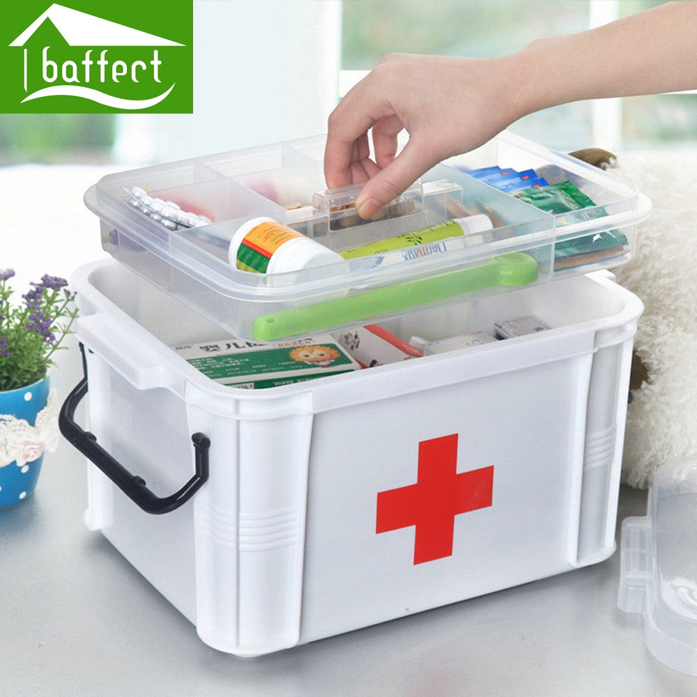Baffect Large Family Home Medicine Chest Cabinet Health Care Plastic Drug First Aid Kit Box ...