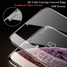 4D Anti-dust Full Cover Tempered Glass Screen Protector For Iphone 11 pro max X Xr Xs max HD Earpiece Curved Hardness Protection