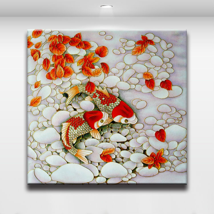 Koi Fish In The Clear Water Chinese Painting Oil Canvas Print Modern Wall Art For Home Living Room Office Decor Calligraphy From