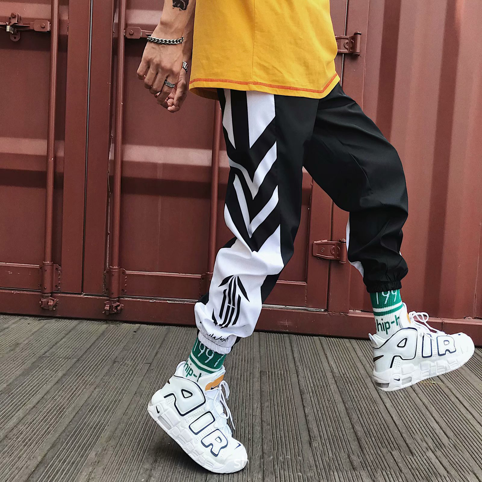 Striped Patchwork Harem Pants Mens 2019 Hip Hop Printed Color Block Casual Joggers Sweatpants Trousers Male Streetwear in Harem Pants from Men 39 s Clothing