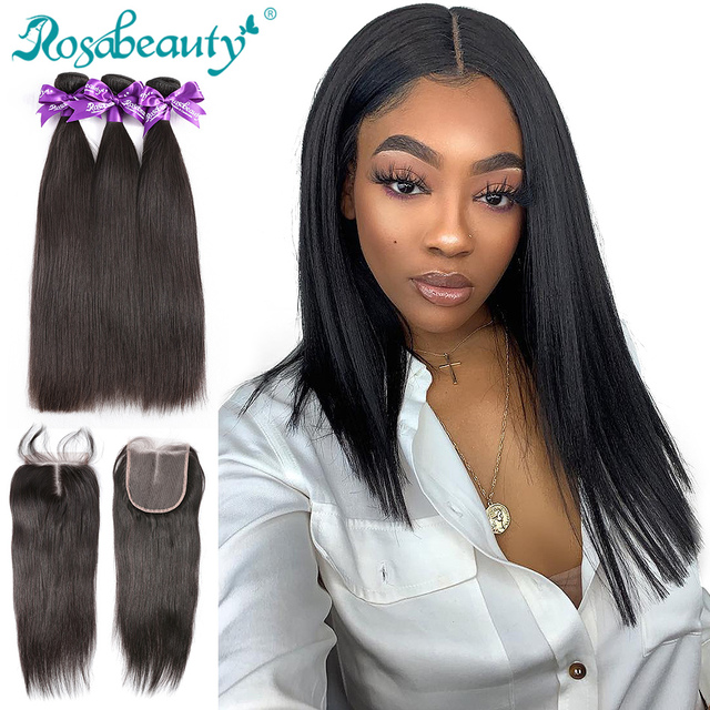 Brazilian Weave Bundles With Closure Frontal Rosabeauty 28 30 inch Remy Straight Bundles With Lace Closure Human Hair Extension