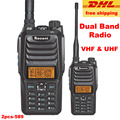2 PCS 10 W Dual Band Walkie Talkie VHF UHF 136-174 MHz & 400-470 MHz 10Km Faixa de Discussão 256CH 2 Rádios FM Rádio DHL Livre grátis