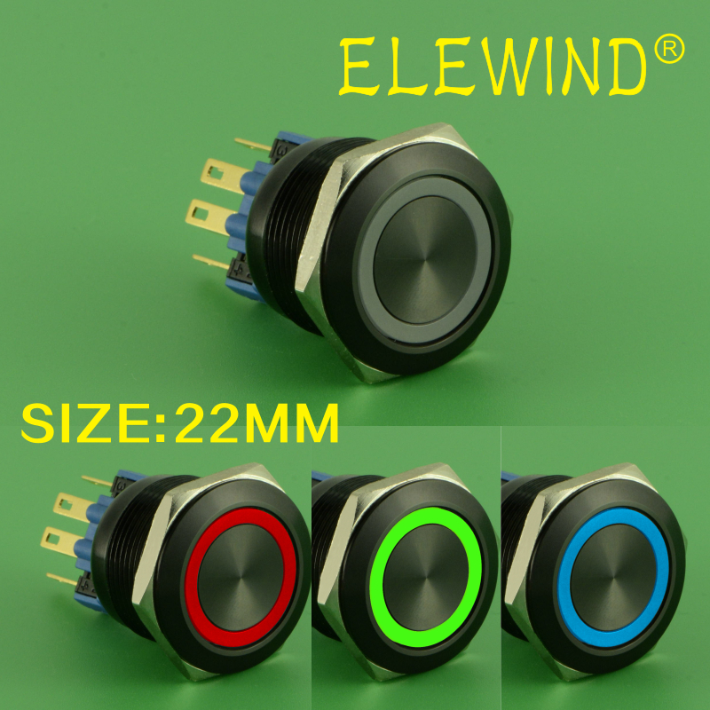 ELEWIND 22mm RGB 3 LED color,black momentary push button switch(PM221F-11E/RGB/12V/A 4pins for led)ELEWIND 22mm RGB 3 LED color,black momentary push button switch(PM221F-11E/RGB/12V/A 4pins for led)