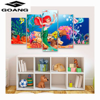 GOANG 5 Pcs Sets Cartoon Mermaid 3d Diamond Painting Square Diy Diamond Drill Diamond Embroidery Cross