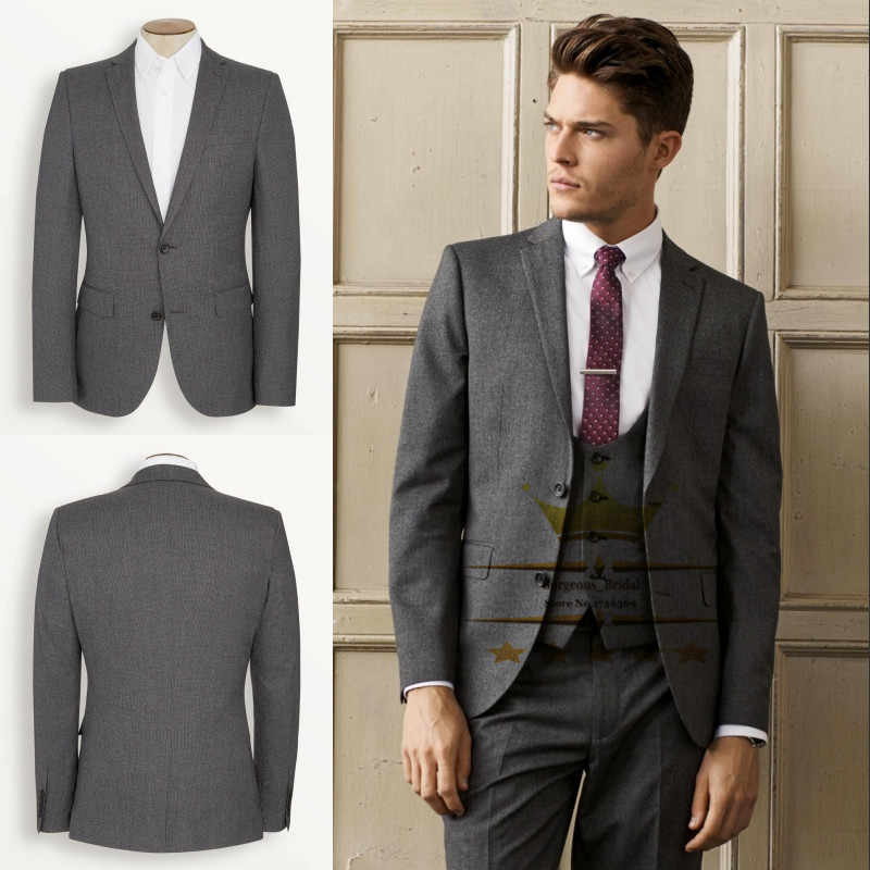 Dark Gray Smoking Wedding Suit For Men Tuxedos Mens Suits With Pants ...