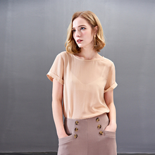 Natural Silk T-Shirt Women Pullover Tops Tans T Shirt High Quality 2019 Work Shirts For