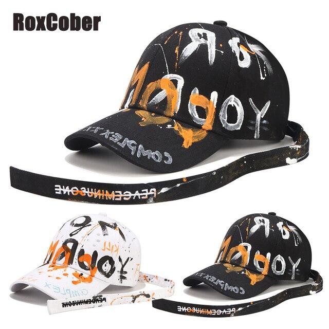 [RoxCober] di Modo Fatti A Mano graffiti berretto da baseball Cappellini per Gli Uomini le donne cinghia Lunga Snapback Cappellini Regolabile Hip Hop cappelli Visiere unisex