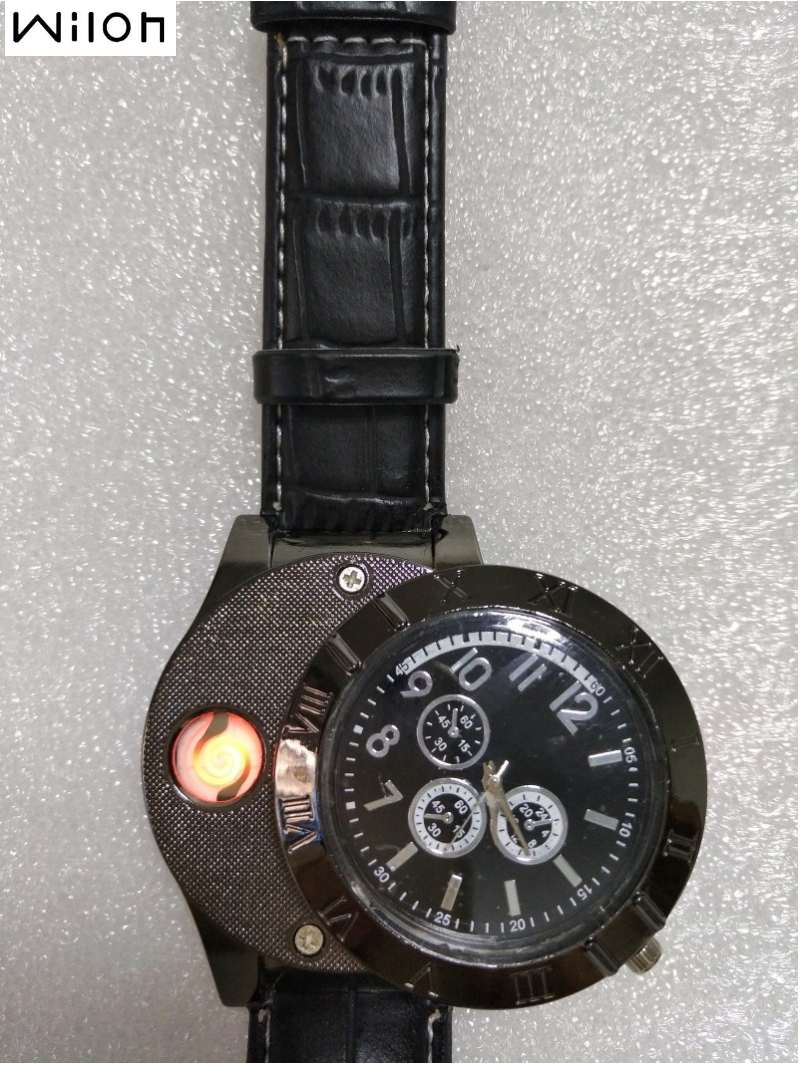 Lighter Watch Men's sports Casual Quartz Watches with leather strap Windproof Flameless Cigarette Lighter USB Charging F665 lighter watch men s sports casual quartz watches with leather strap windproof flameless cigarette lighter usb charging f665