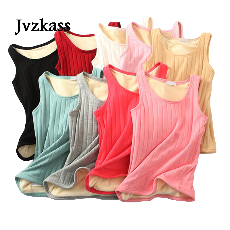 Jvzkass autumn and winter new double plus velvet vest women 39 s thick Sling bottoming shirt cotton inside sleeveless warm top Z265 in Tank Tops from Women 39 s Clothing