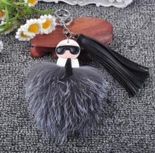 Nueva Doble cara de Monstruo karl cara de París semana de La Moda más caliente bolsa de accesorios borla Karlito pompón de piel de zorro llavero llavero