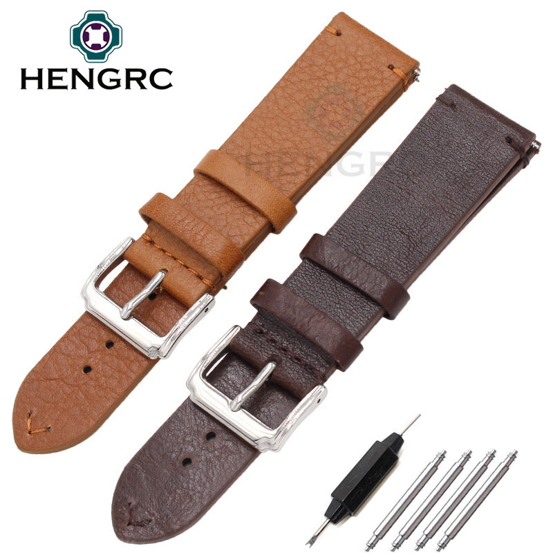 Retro Genuine Leather Watch Band Strap 18mm 20mm 22mm For Rol Handmade Watchbands Wiht Silver Metal Stainless Steel Buckle handmade retro genuine leather watchbands for panerai 22mm 24mm men watch band strap metal buckle relogio accessories wristband