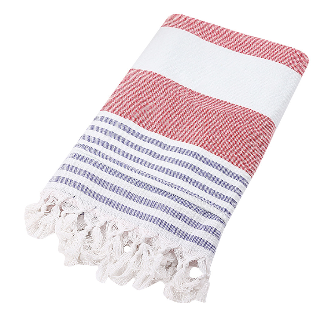 Bath Towels For Adults Cotton Turkish Simple Striped Pattern Fringed Beach Towel Dyed Jacquard Towel Bath Towel(China)