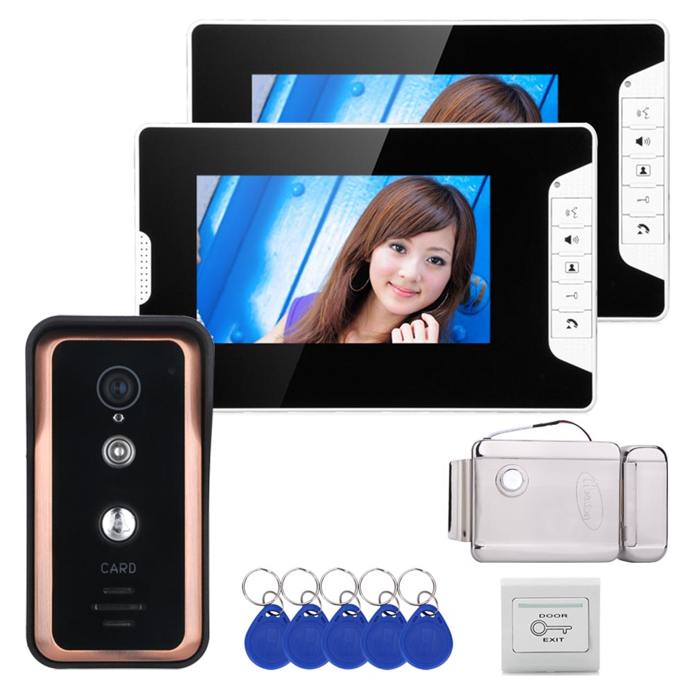 Wired 7 Inch Video Door Phone Video Intercom Doorbell System 2 Monitor 1 RFID  Camera +Stainless Steel Electronic Door Lock