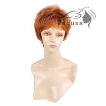 Medusa hair products: Synthetic wigs for women Chic pixie cut styles Short straight Mix color wig with bangs Peruca curta SW0576