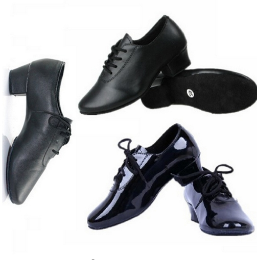 Discount Men And Boy FR28 To FR45 Black Lace-Up Ballroom Rumba Dance Latin Dance Shoes
