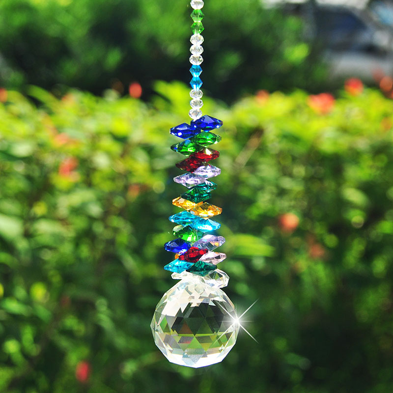 H & D 40мм Crystal Ball Prism Rainbow Chakra Hanging Suncatcher - Бақша өнімдері - фото 1