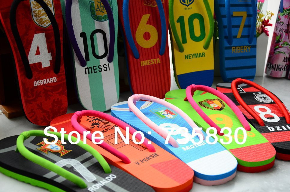 c14132e98ebf 2014 World Cup Football National Team Flat Flip flops Messi slippers Summer  Beach Sandals Football shoes Creative shoes gifts