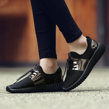 Couple Mesh Gold Men  Casual Shoes Summer Fashion Breathable Durable Lace-Up sapatos Walking Casuais Male Free Shipping