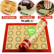 Tapete antiaderente de silicone walfos, esteira para cozimento, ferramentas para massas, bolos e biscoitos em tamanho grande macaron