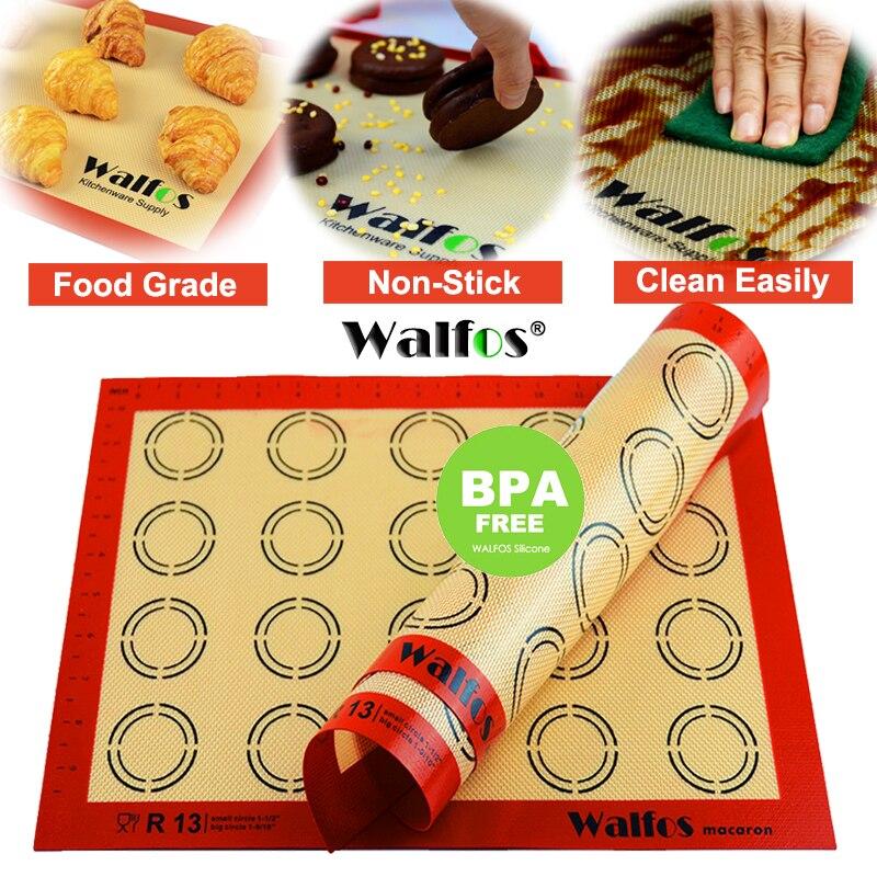 WALFOS Nicht Stick Silikon Back Matte Pad Blatt Backen gebäck werkzeuge Rolling Teig Matte Große Größe für Kuchen Cookie macaron|dough mat|baking matnon-stick silicone baking mat - AliExpress