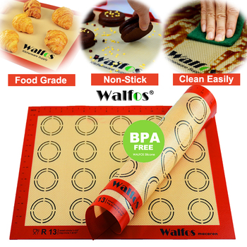 WALFOS Non-Stick Silicone Baking Mat Pad Sheet Baking pastry tools Rolling Dough Mat Large Size for Cake Cookie Macaron silicone oven baking mat roll functional baking macaron non stick cake pad swiss roll pad baking tools for cakes silicone mat