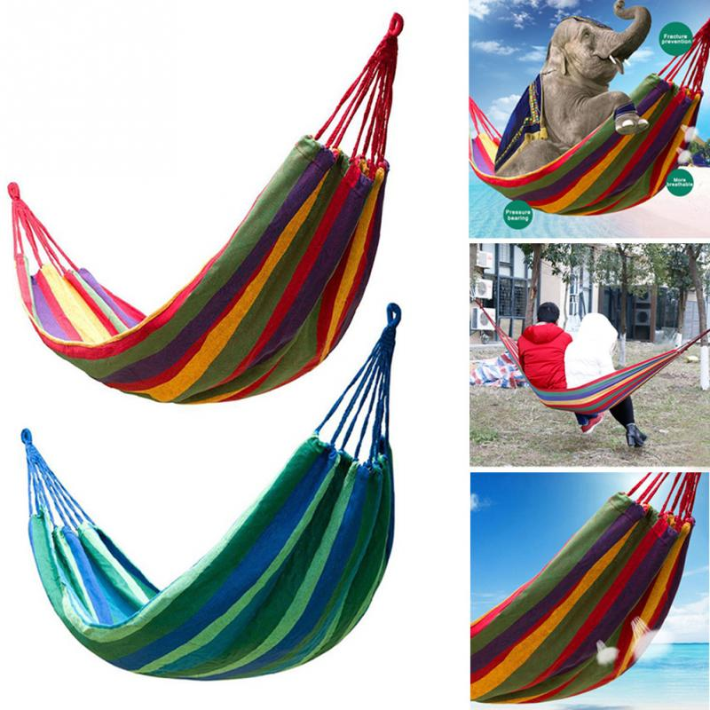 Beach Sunbed Canvas Hammock Single Portable Sleeping Swing Camping Outdoor Hammock with Storage bag Tied rope stripe pattern off shoulder long sleeves waist tie playsuit with tassel detail page 5